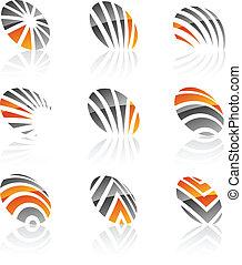 symbols., bedrijf, set
