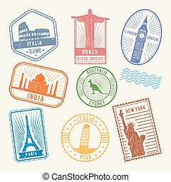 symbols., bilder, resa, berömd, frimärken, vektor, arkitektur, värld, post