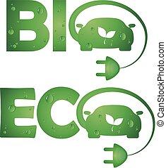 Symbols bio eco cars