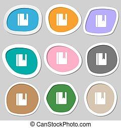 symbols., bladwijzer, veelkleurig, papier, vector, stickers., boek, pictogram