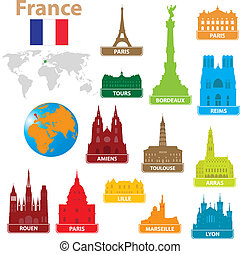 Symbols city to France. Vector illustration for you design