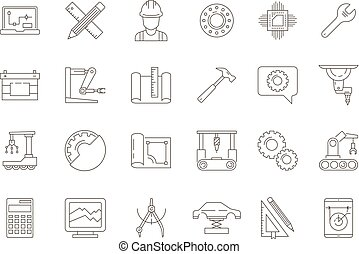 symbols., civil, lasca, cobrança, engenharia, vetorial, elétrico, magra, mecânico, linha, fabricando, ferramentas, ícone