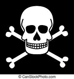 symbols., cranio, giocondo, vettore, crossbones., roger., pirata, illustrations.