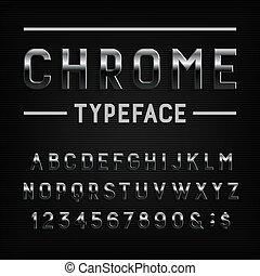 symbols., cromo, alfabeto, metal, efeito, letras, números, font.