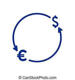symbols dollar and euro with arrows in shape circle