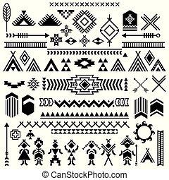 symbols., elements., american., tribal, indiens, aztèque, motifs, vecteur, motives, ethnique, typique