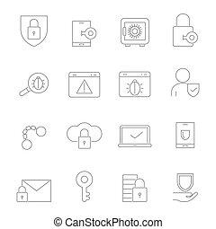 symbols., ensemble, linéaire, images, cyber, vecteur, sécurité