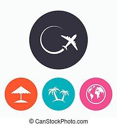symbols., erdball, motorflugzeug, welt, icon., reise, reise