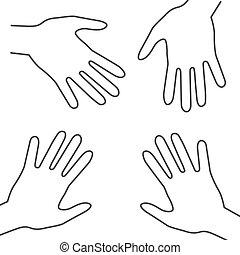 symbols., esboço, mão, vetorial, palma, human, hands.