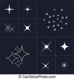 symbols., estrela, brilho, grande, star., cobrança, símbolos, stars., jogo, cintilante, vector., faíscas, branca