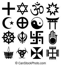 symbols., format., wektor, inny, mieszany, religijny, signs.
