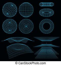 symbols., géométrie, wireframe, vecteur, perspective,...