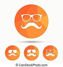 symbols., hipster, moustache, icons., lunettes