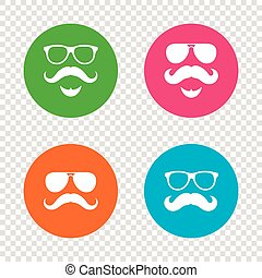 symbols., hipster, mustache, icons., bril