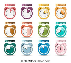 symbols., horloge, reveil, icônes, minutes., vecteur, cinq, temps, soixante, différence, set.