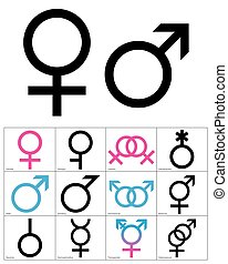 symbols., illustration., wektor, błękitny, linearny, różowy...