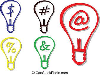 Symbols in a light bulb