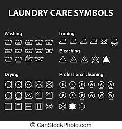 symbols., lavage, instruction, collection, textile, ensemble, tissu, signes, lessive, icône, soin