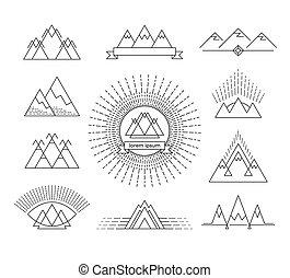 symbols., linha, montanha