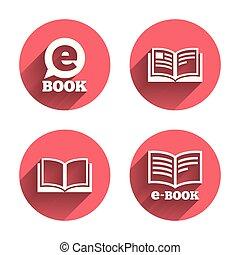 symbols., livre électronique, signs., e-livre
