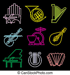 symbols musical instruments - set of vector icons musical...