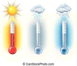 symbols., nuages, température, soleil, thermomètre, -, neige, pluie, forecast., vecteur, illustration, mesure, temps, 3d