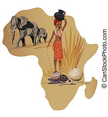 Symbols of Africa - Illustration with Africa map and African...