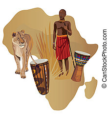 Illustration with Africa map and African symbols