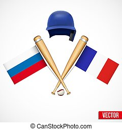 Symbols of Baseball team Russia and France.