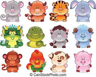 Symbols of Chinese horoscope.