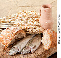 Symbols of christianity - Wine, wheat, bread and fish as...