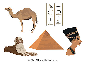 Illustration with symbols of Egypt isolated on white