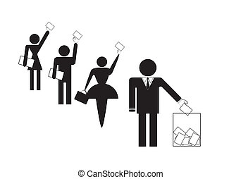 Symbols of group of people voting on elections, vector illustration