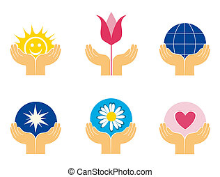 Symbols of hands holding different things - Logo elements of...