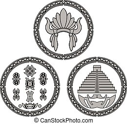 symbols of indians of latin america. vector illustration