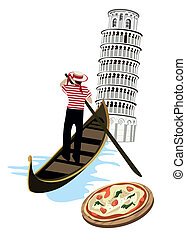 Symbols of Italy as Pisa tower, pizza and gondola