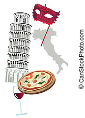 Symbols of Italy as Pisa tower, pizza, wine, venetian mask