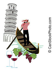 Symbols of Italy as Pisa tower, wine and gondola