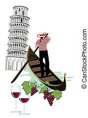 Symbols of Italy as Pisa tower, wine and gondola