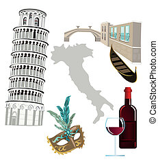 Symbols of Italy as Pisa tower, wine, venetian mask and...