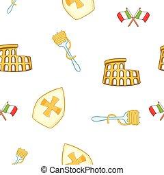 Symbols of Italy pattern, cartoon style