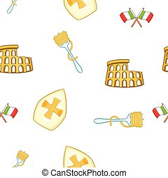 Symbols of Italy pattern, cartoon style