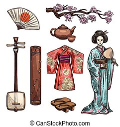 Symbols of Japan and japanese culture icons