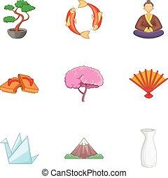 Symbols of Japan icons set, cartoon style