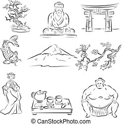 Symbols of Japanese culture - Beautiful Set of vector ...