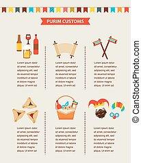 symbols of Jewish holiday purim. infographics design -...