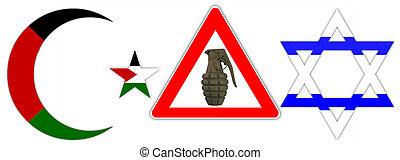 Judaism and Islam - Symbols of Judaism and Islam with a road...