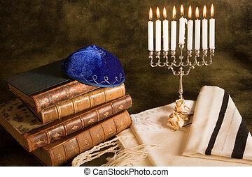 Symbols of judaism - Bible, prayer shawl, jewish cap and...