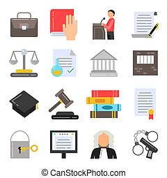 Symbols of legal regulations. Juridical icons set in flat style