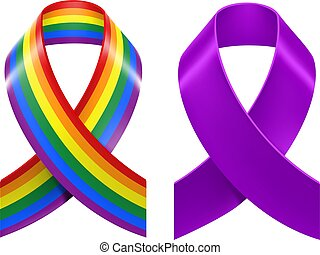 Symbols of LGBT rainbow Pride loop ribbon. Isolated on white...